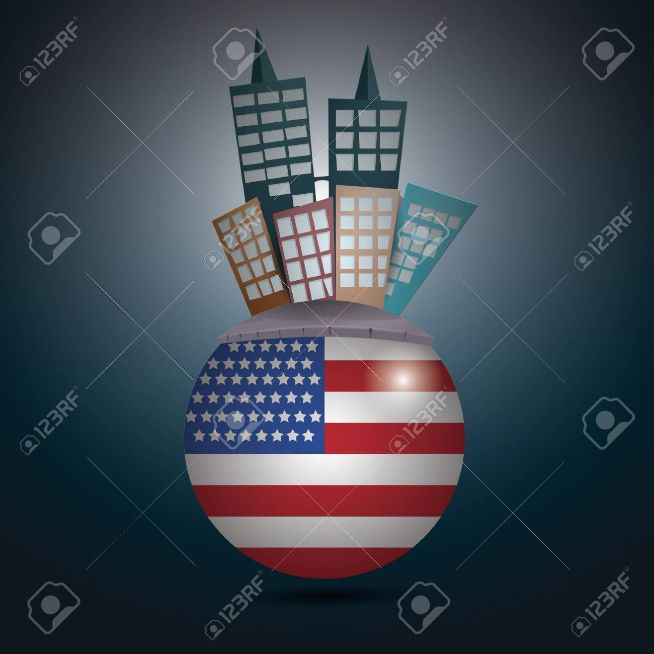 buildings on a rounded usa flag royalty free cliparts vetores e