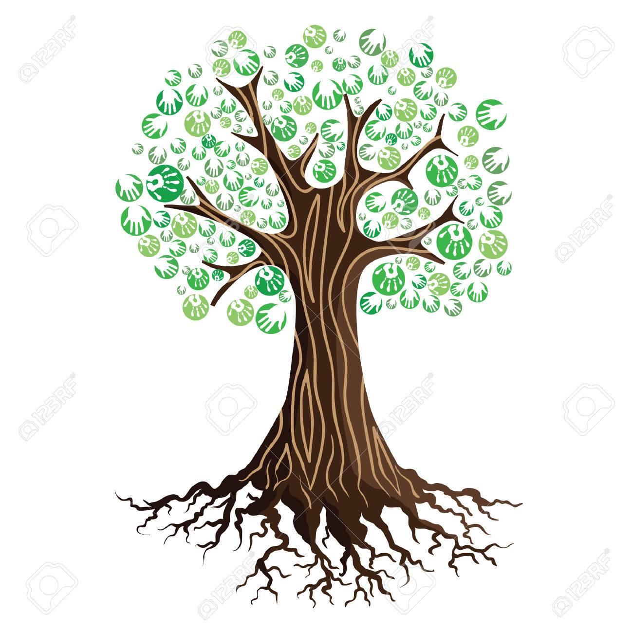 tree with hand prints - 53842208