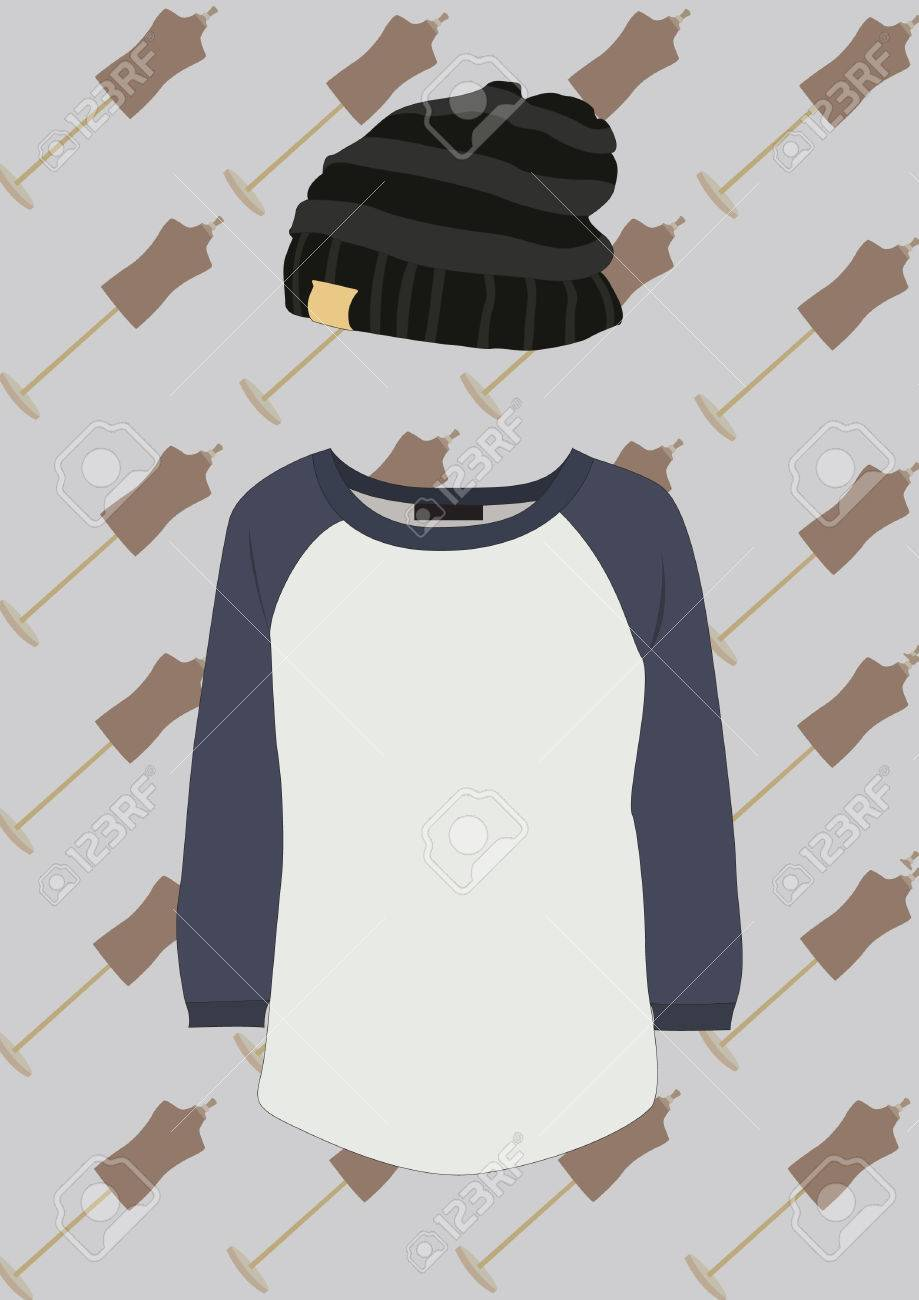 0182d8726a2 round neck t shirt and beanie Stock Vector - 53874414