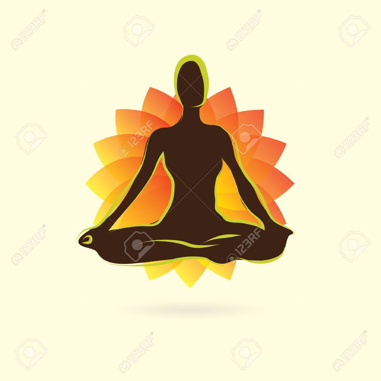 Woman Silhouette Practising Yoga In Lotus Pose Royalty Free Cliparts Vectors And Stock Illustration Image 53989748