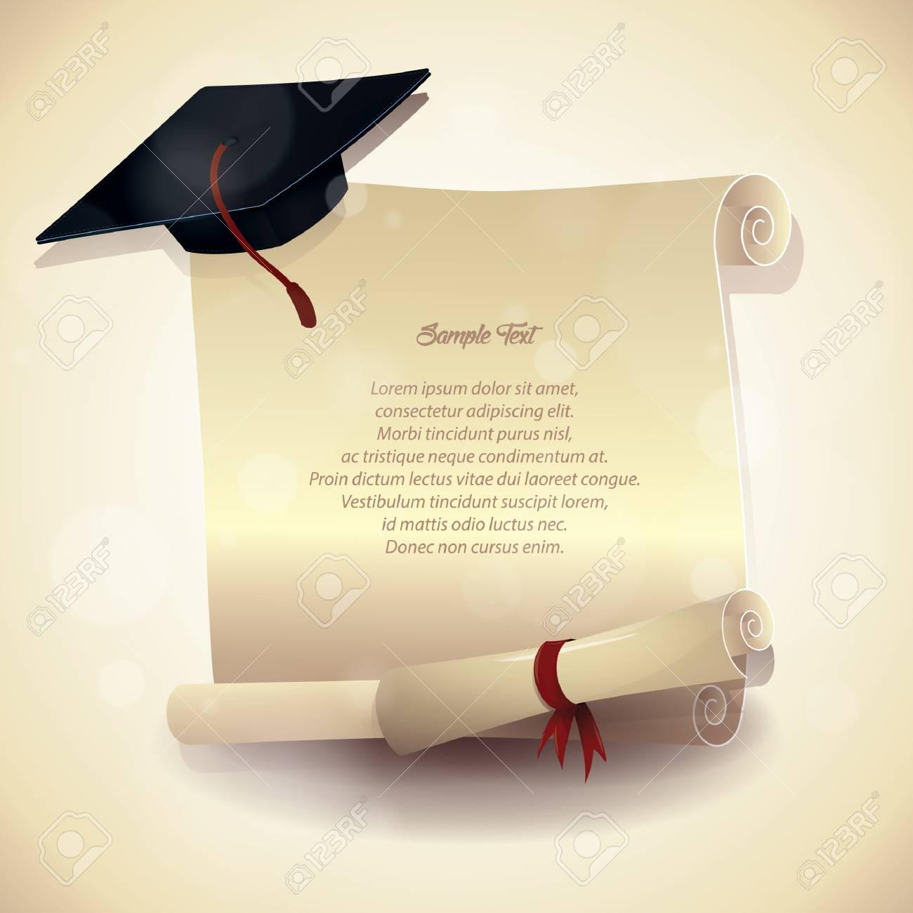 c3cc4290dd0db Cartel de graduación sombrero y certificado Foto de archivo - 81538466