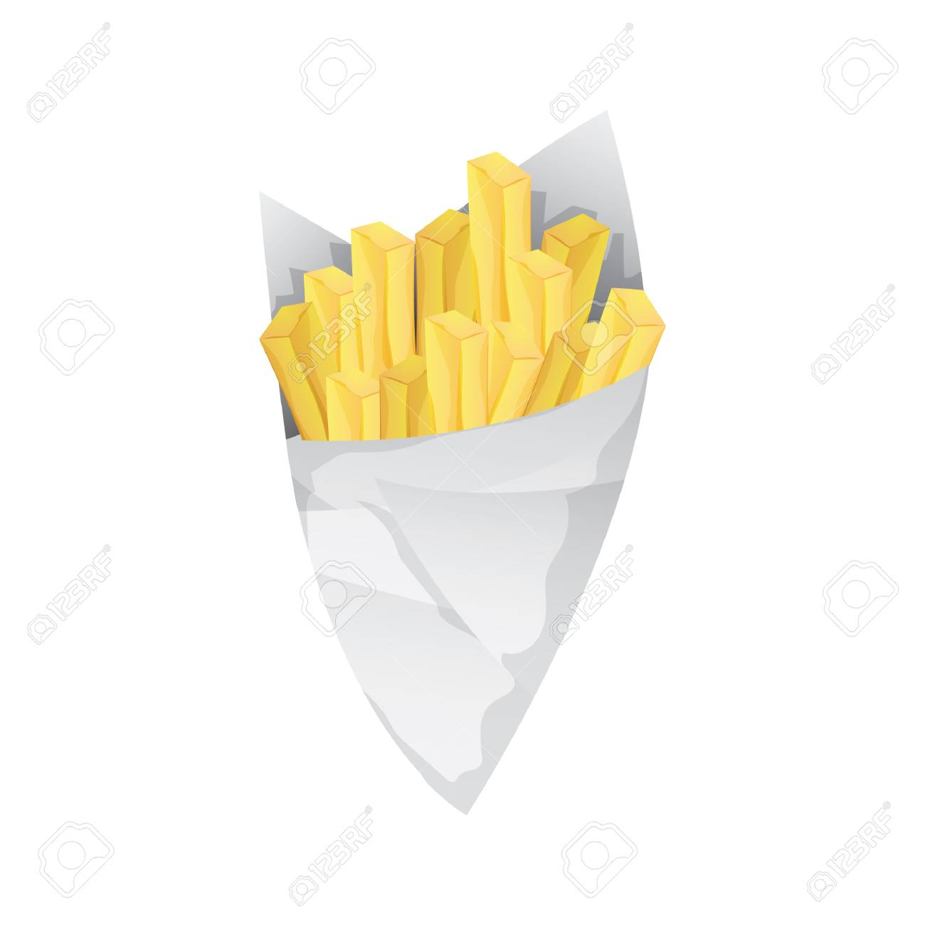 french fries in paper cones - 106673278