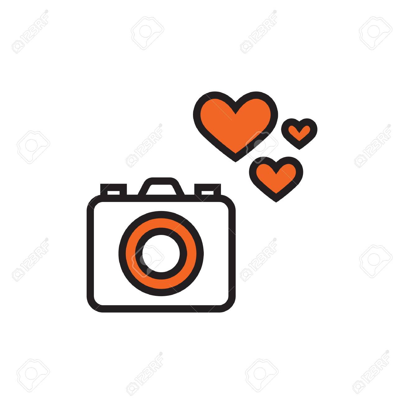 Camera Icon With Heart Royalty Free Cliparts Vectors And Stock