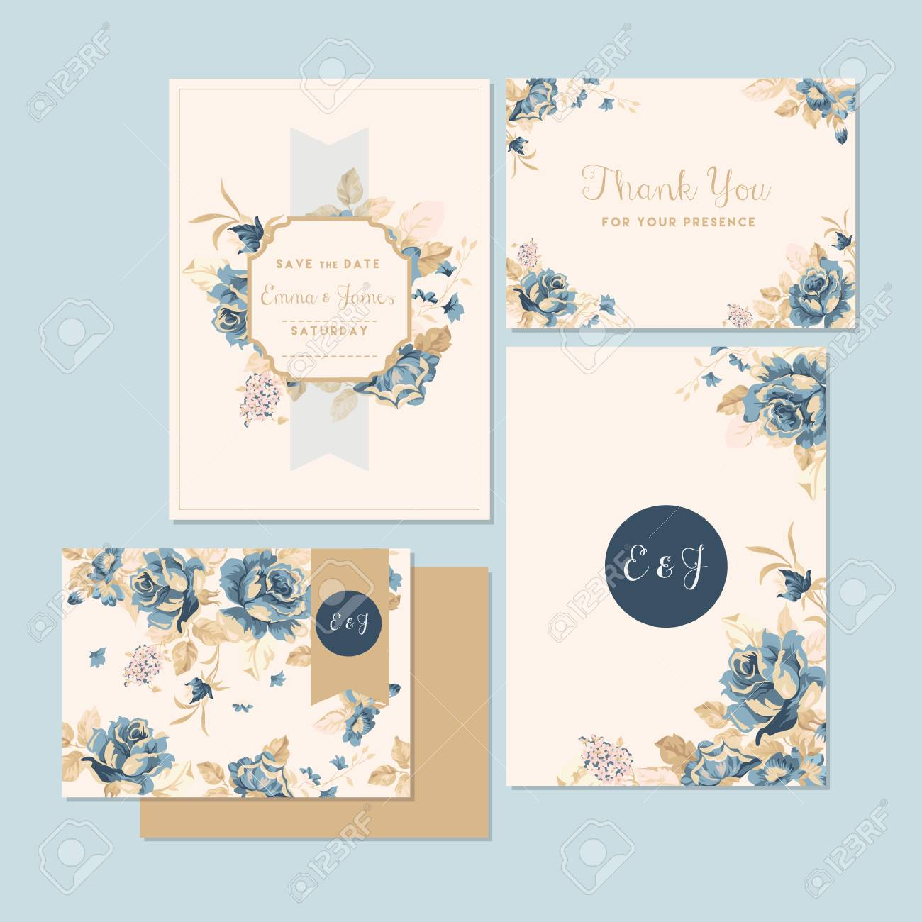 wedding invitation and thank you card - 106674155