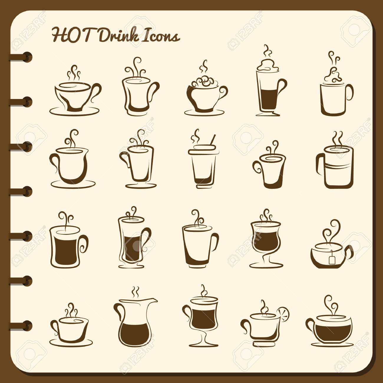collection of hot drink icons - 106675137