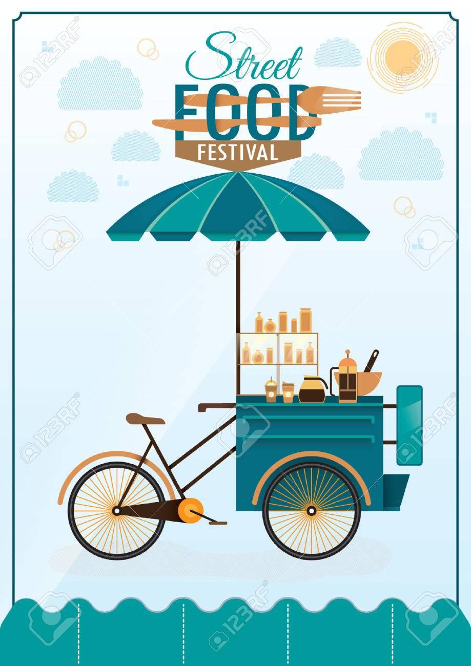 Street Food Festival Poster Design Stock Vector