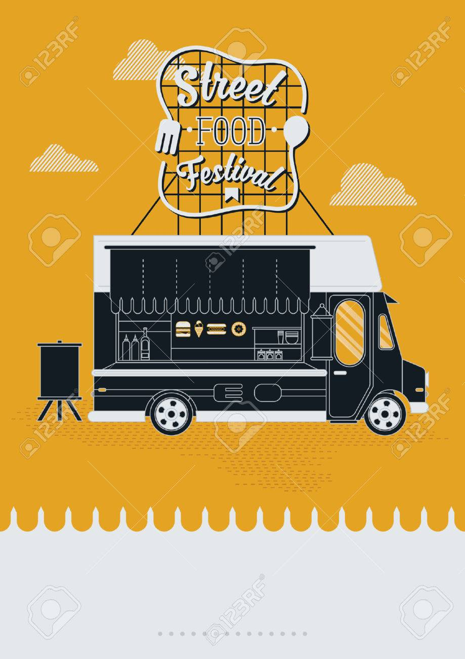 street food festival poster design royalty free cliparts vectors