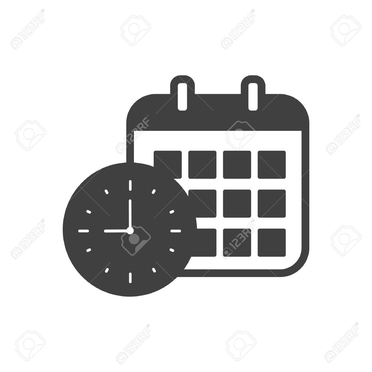 Calendario Vector Blanco.Reloj Y Calendario Icono Ilustracion Vectorial Blanco Y Negro