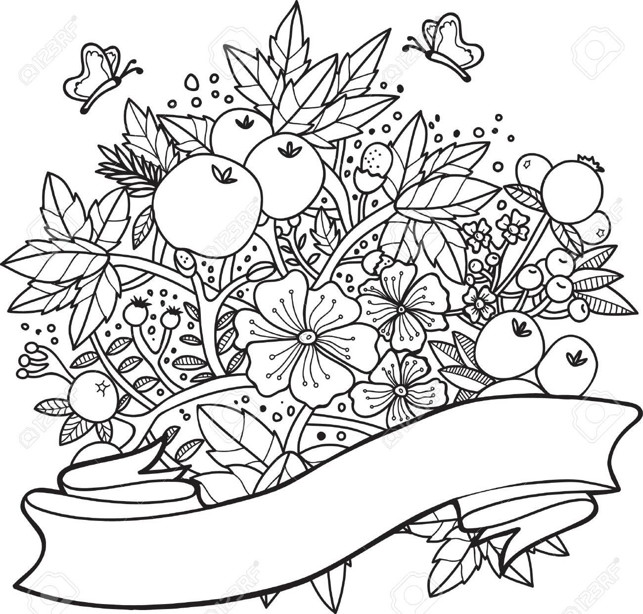 Diseño Intrincado De Flores Y Bayas Ilustraciones Vectoriales, Clip ...
