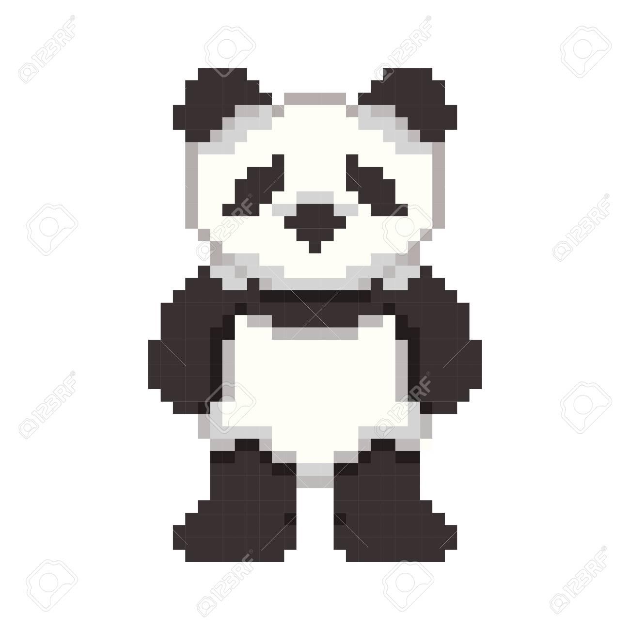 Pixel Art Panda Royalty Free Cliparts Vectors And Stock
