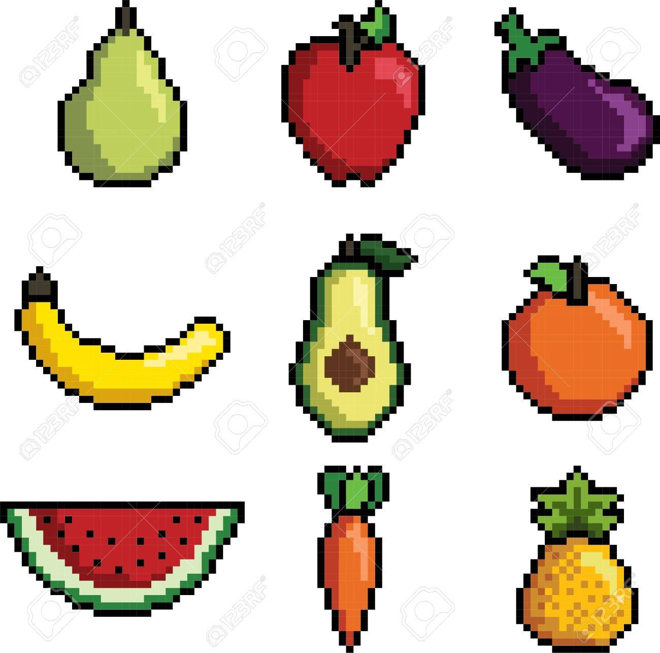Fabuleux Pixel Art Fruit And Vegetables Collection Royalty Free Cliparts #UG_11