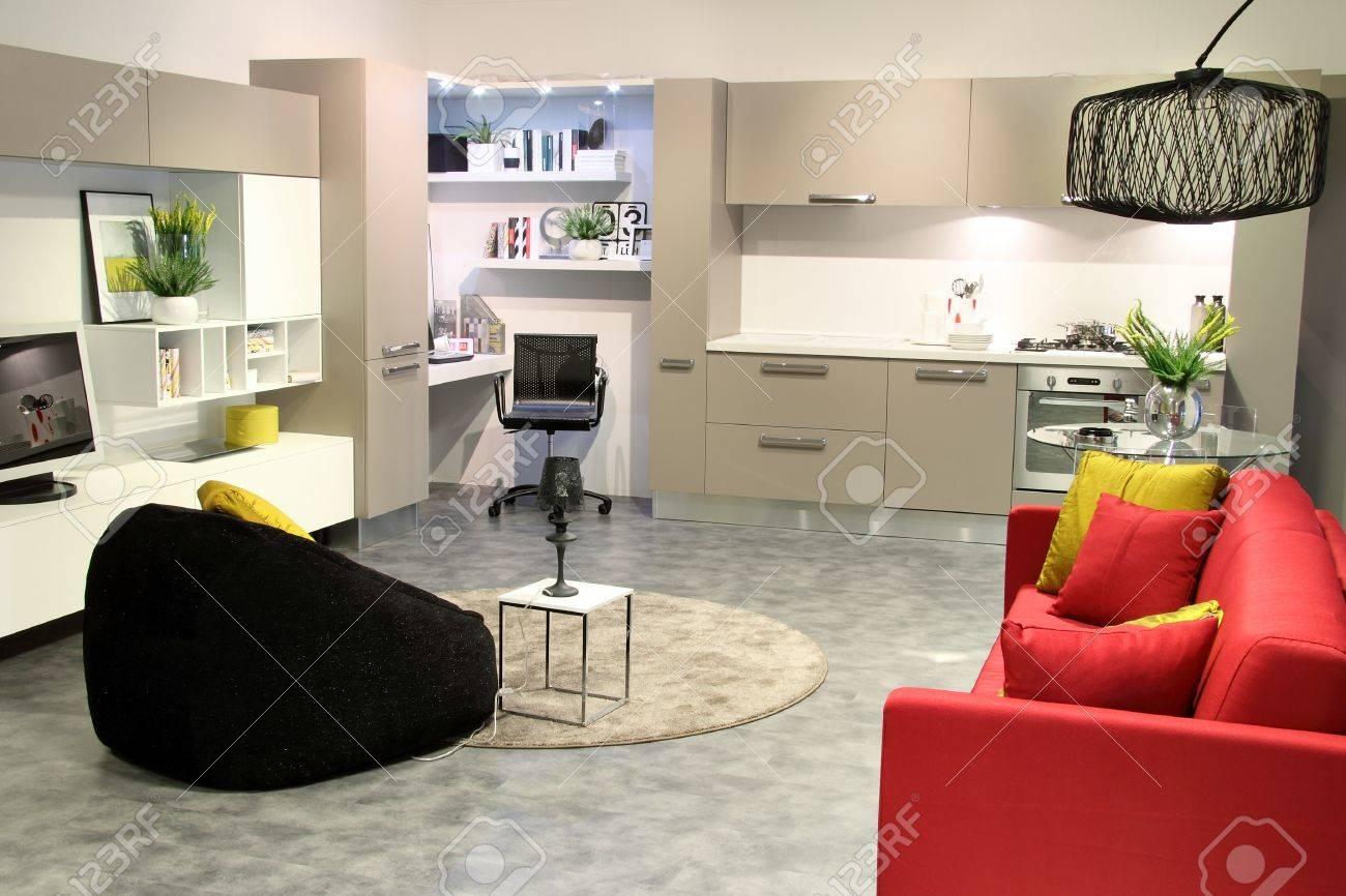 Bunte Moderne Küche Und Wohnzimmer. Elegante Farben Lizenzfreie ...