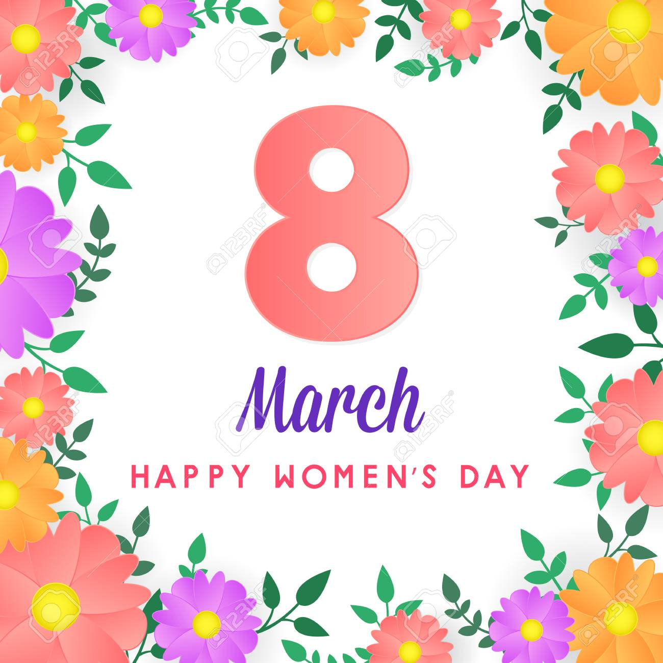 8 March Womens Day Greeting Card Poster Banner Background Royalty