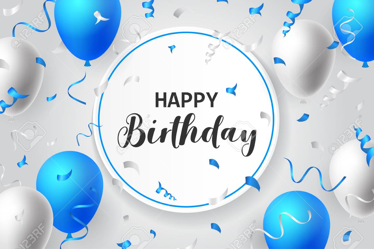 Happy Birthday Balloons Typography Banner Background Illustration Poster Design Template Birthday Celebration For Greeting Cards - 97270463