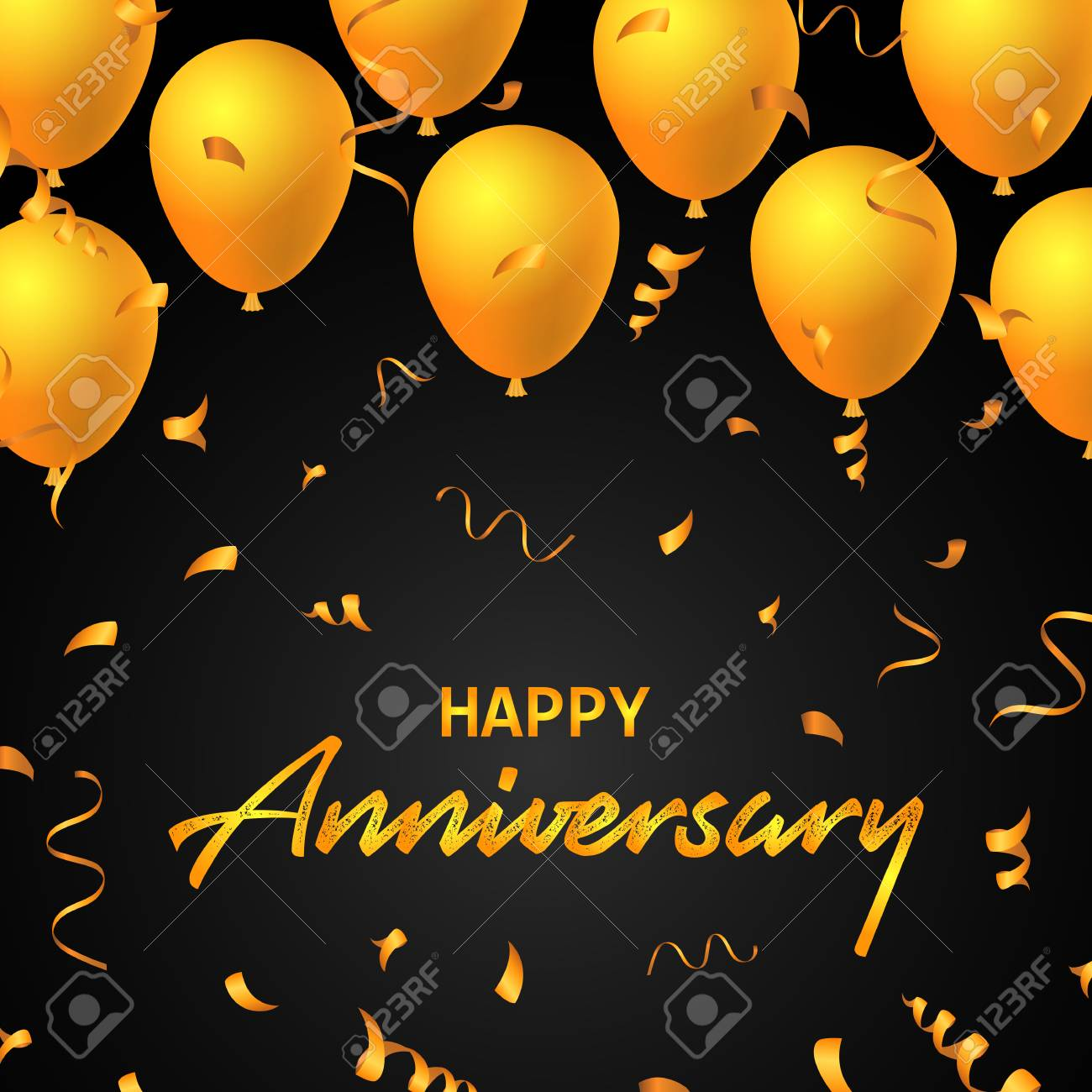 happy anniversary balloons typography banner background illustration