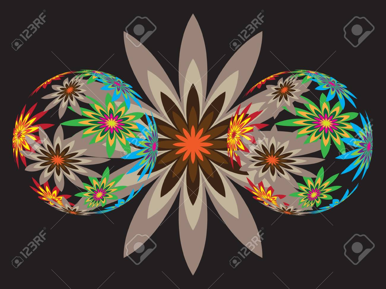 The glass spheres with spring flowers Stock Vector - 9366206