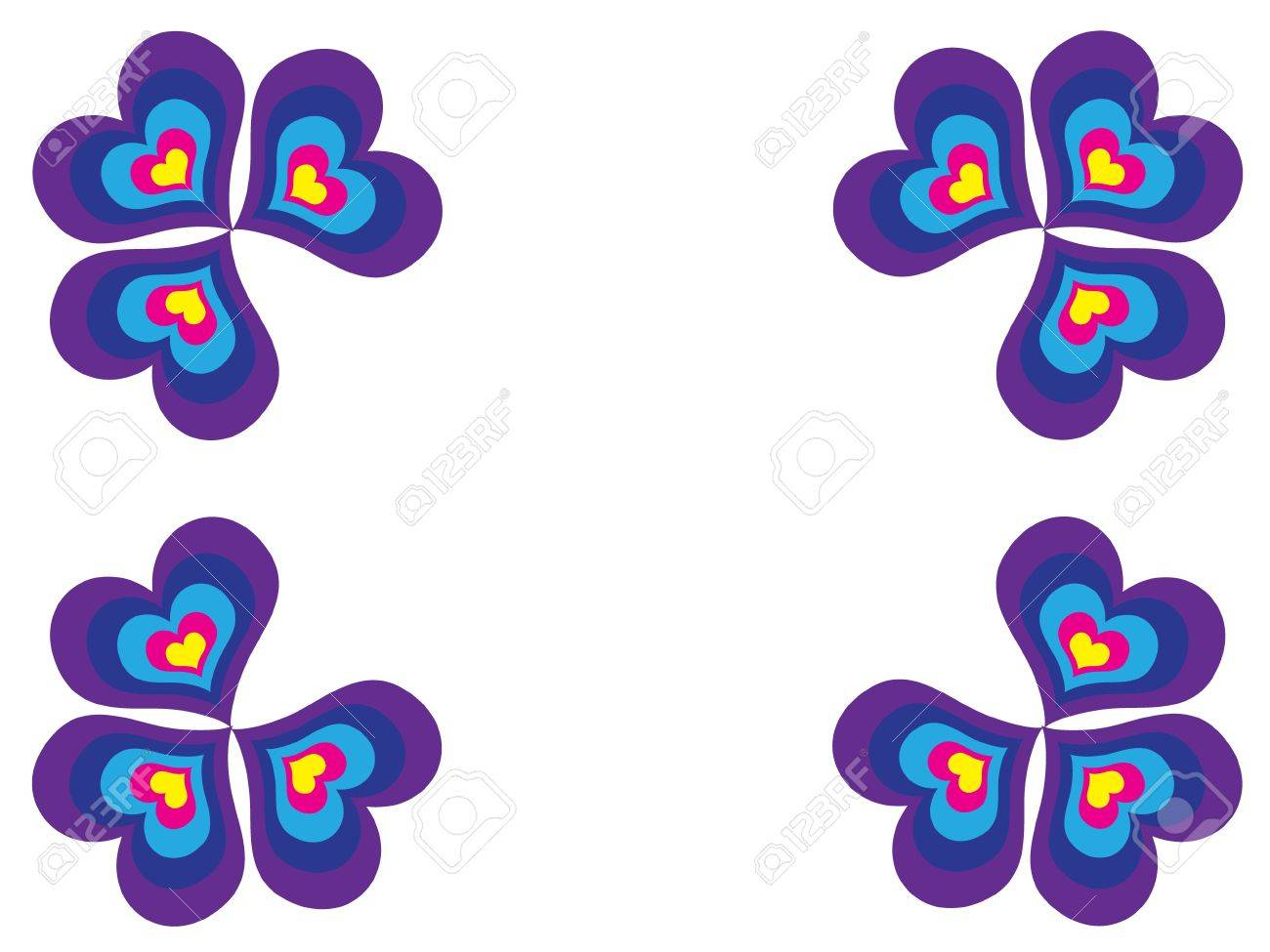 Mosaic - clovers with different colorful hearts Stock Vector - 9817294
