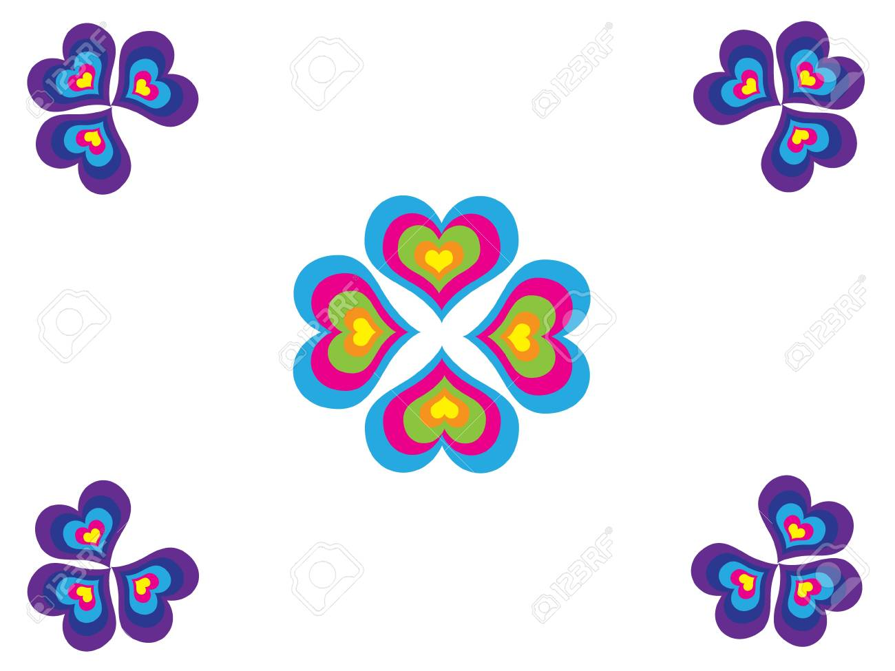 Mosaic - clovers with different colorful hearts Stock Vector - 9817324