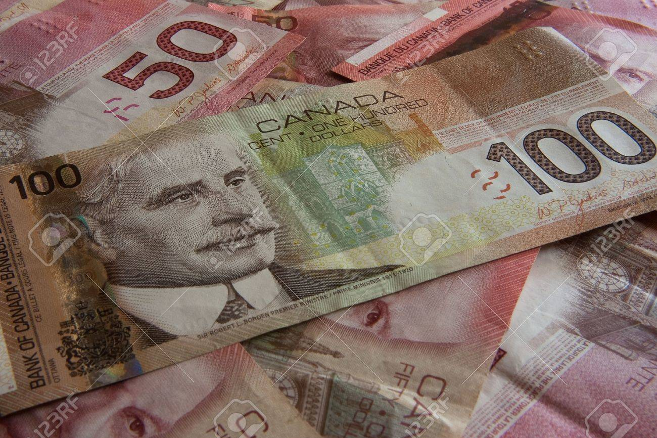 Background made of canadian money