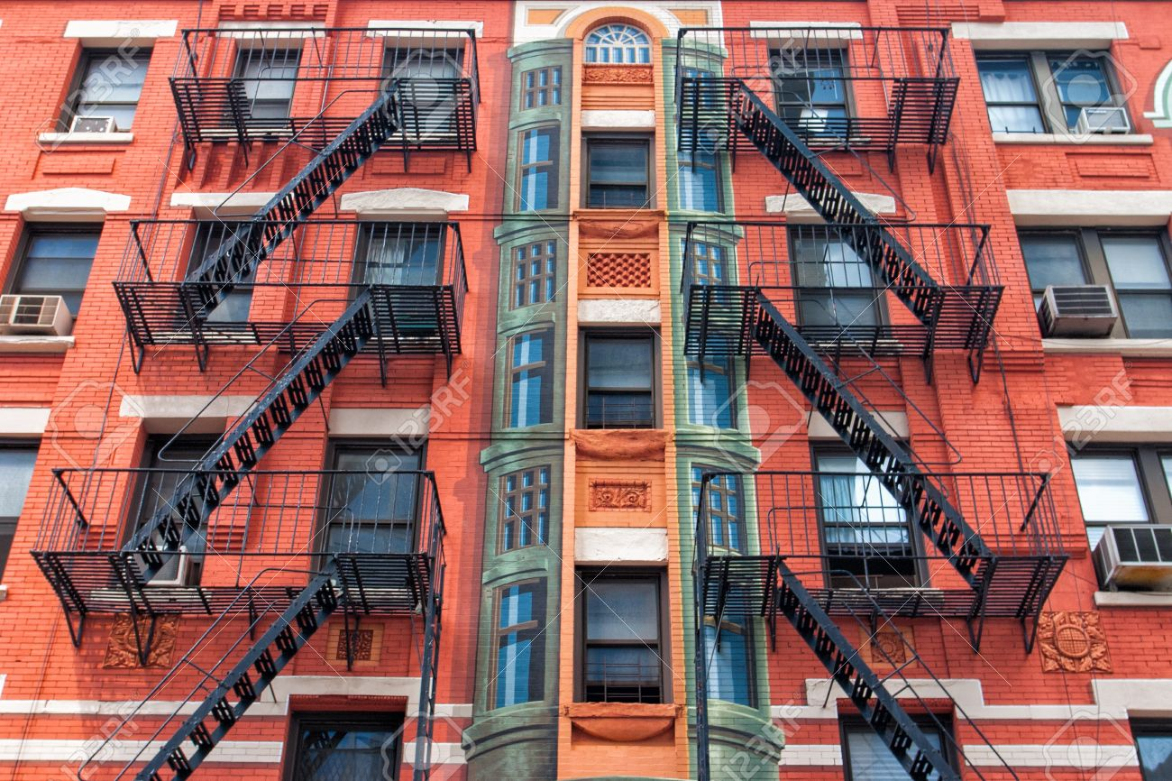 Stock Photo   The Typical Old Houses With Fire Stairs In New York In USA