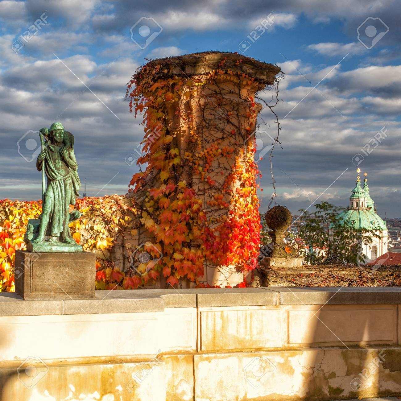Autumn In Garden Of Paradise Near Prague Castle Stock Photo, Picture ...