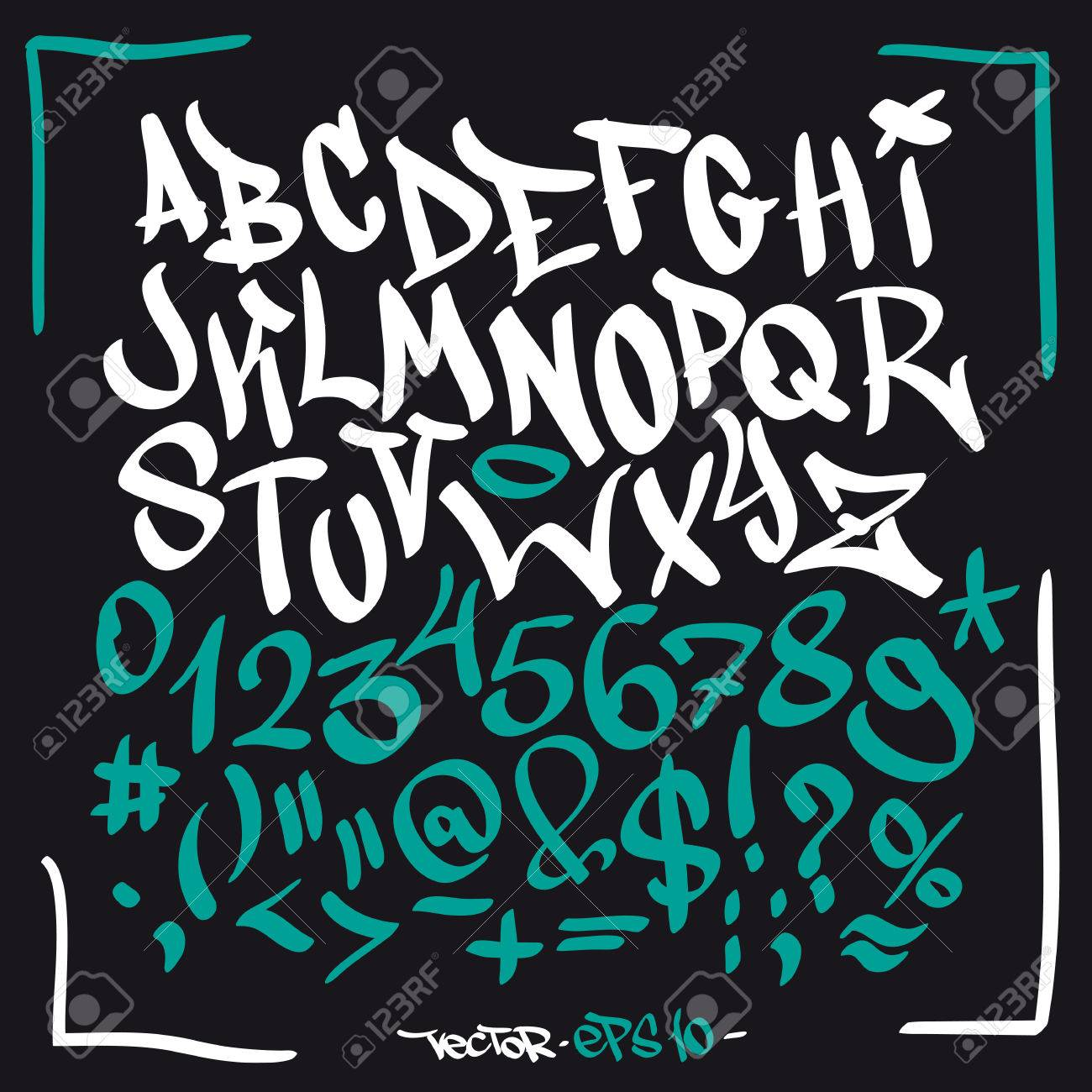 Hand Written Graffiti Font Alphabet Vector Lettering