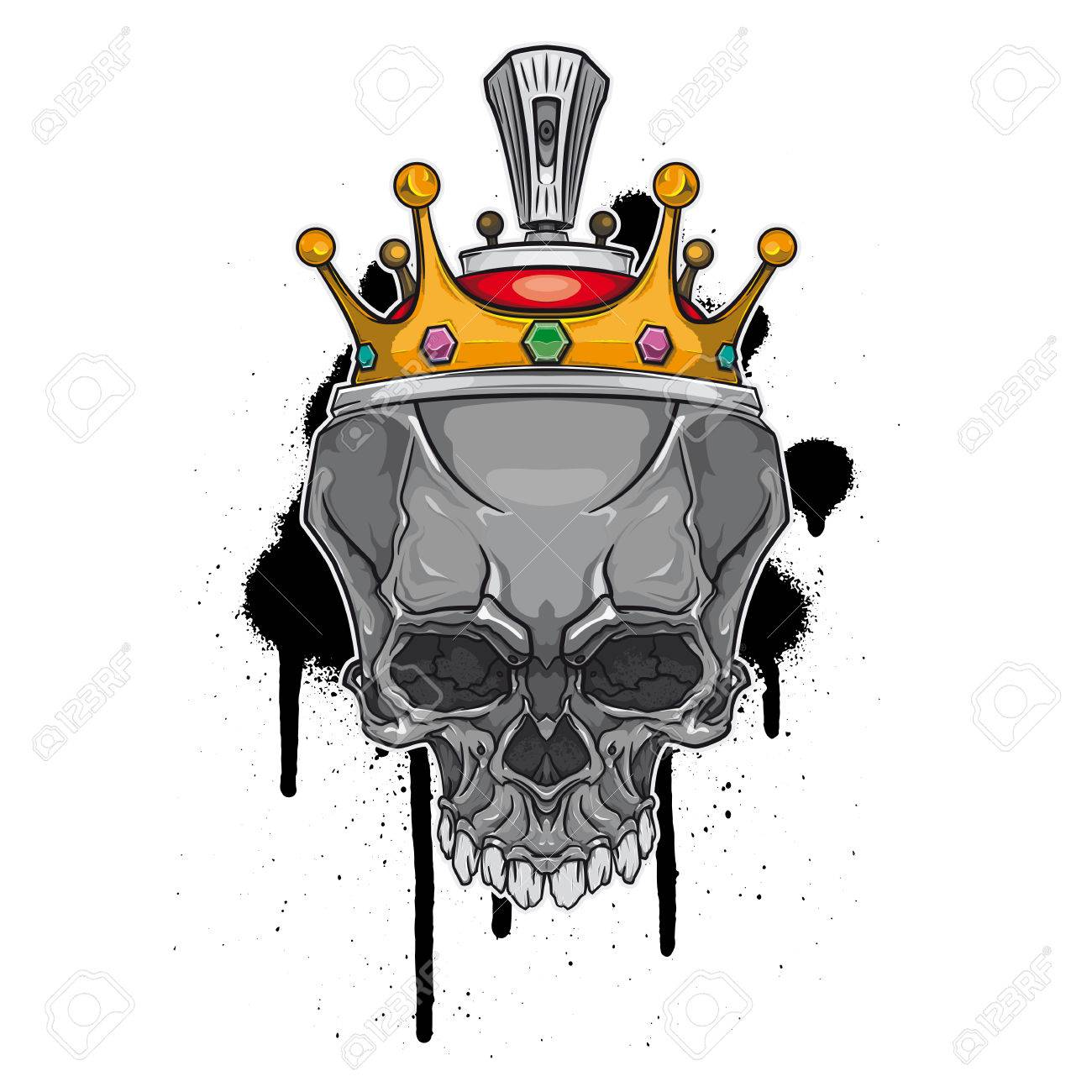Skull With Crown On Graffiti