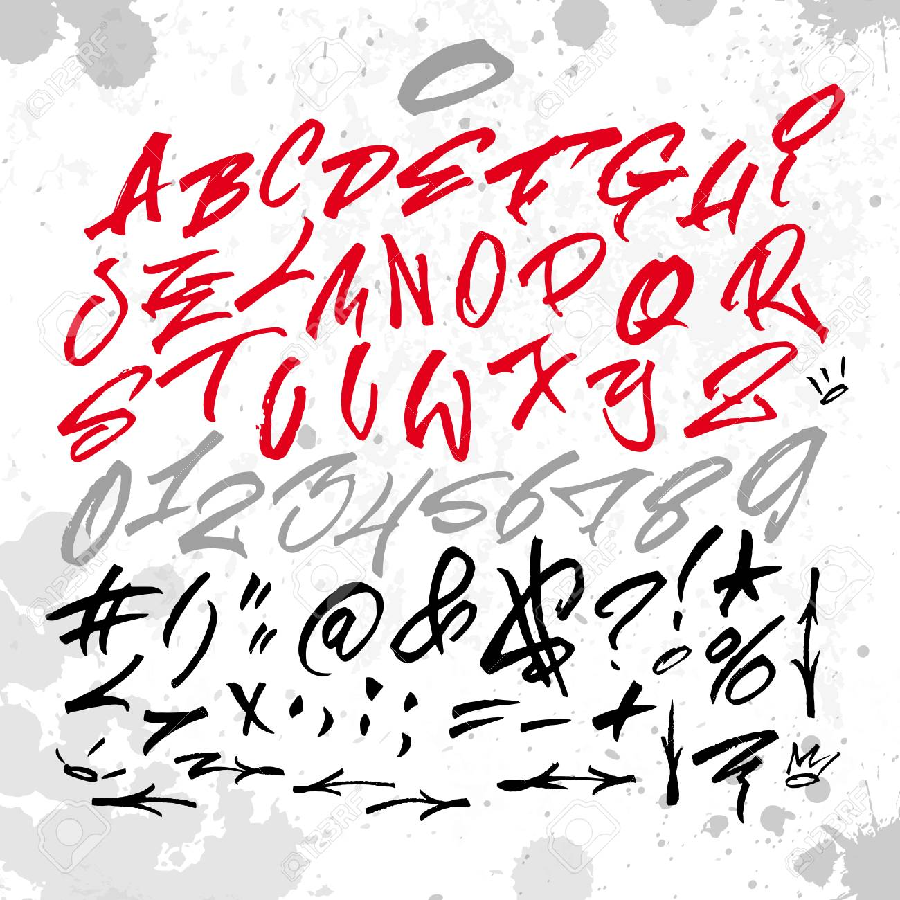 Handwritten Graffiti Font Alphabet Artistic Hip Hop Typography Collection Custom Vector Calligraphy Graphic Set