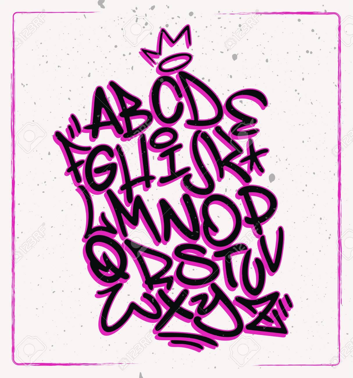 Handwritten Graffiti Font Alphabet Artistic Hip Hop Typography Collection Custom Vector Calligraphy Graphic Set