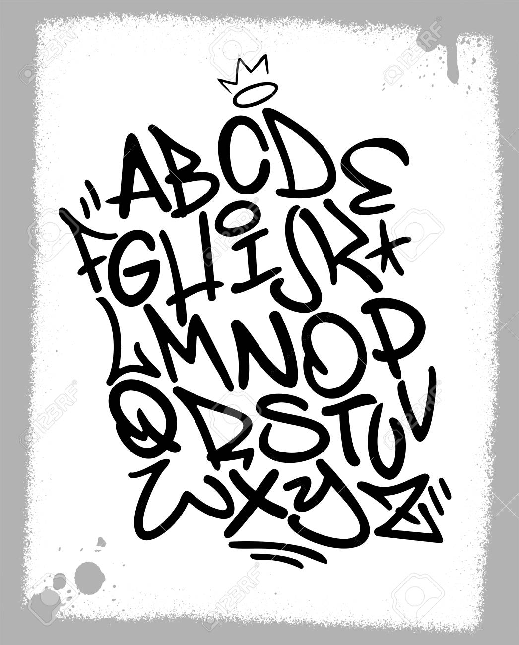 Handwritten Graffiti Font Alphabet Artistic Hip Hop Typography Collection Custom Vector Calligraphy Set
