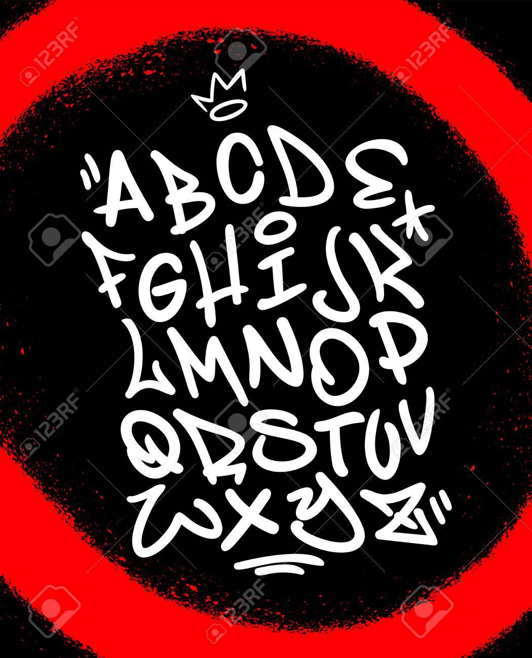Handwritten graffiti font alphabet  Artistic hip hop typography