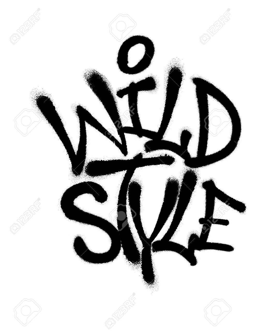 Sprayed wild style font graffiti with overspray in black over white vector graffiti art illustration