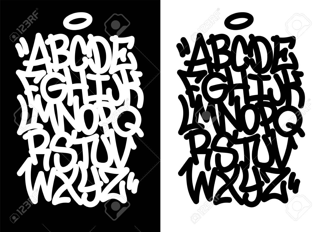 Handwritten graffiti font alphabet. Set on black background. - 112369010