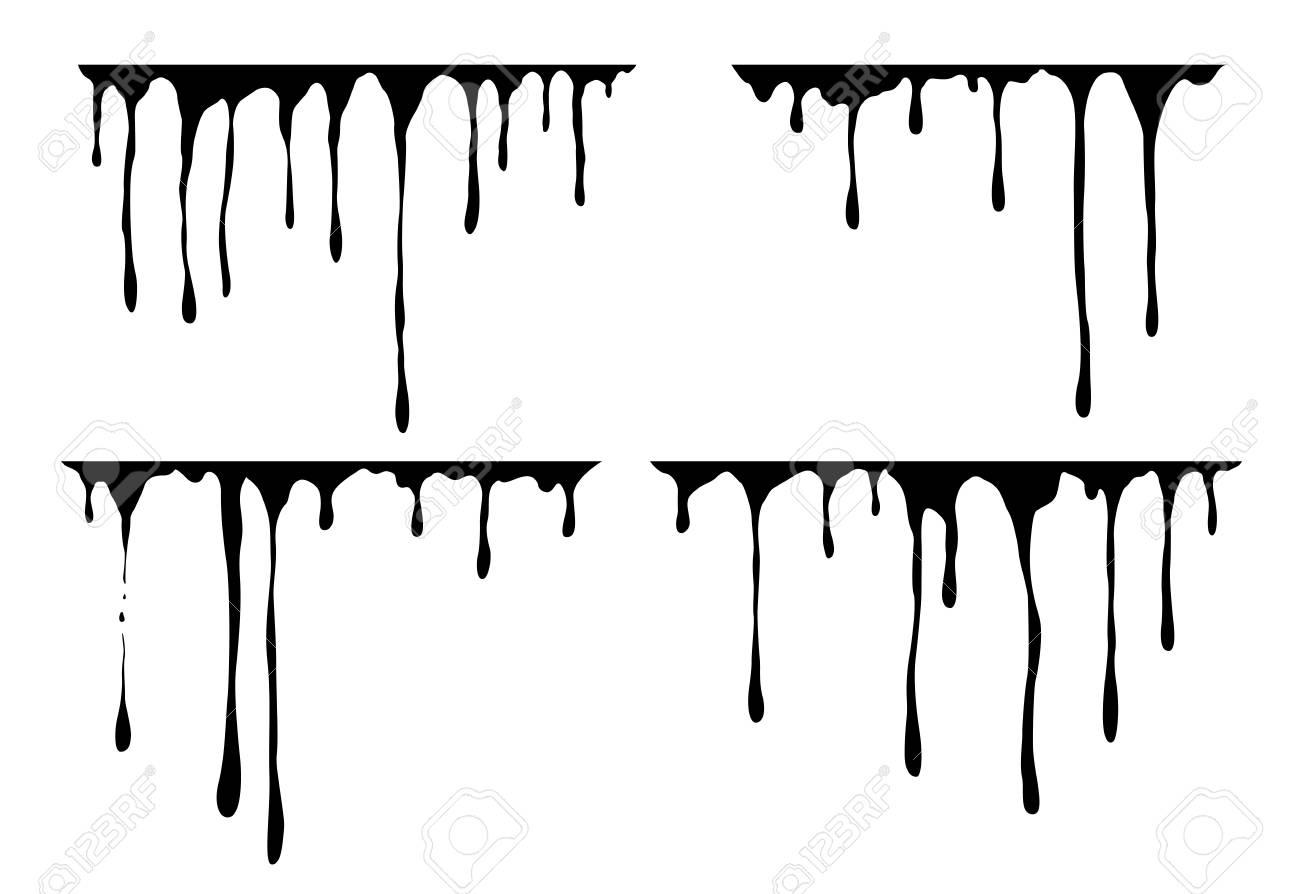Hand drawn paint splatter, melt  Liquid leak  Ink drops  Vector