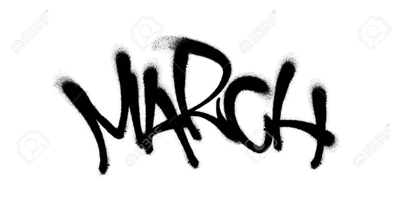 Sprayed March Font With Overspray In Black Over White Vector