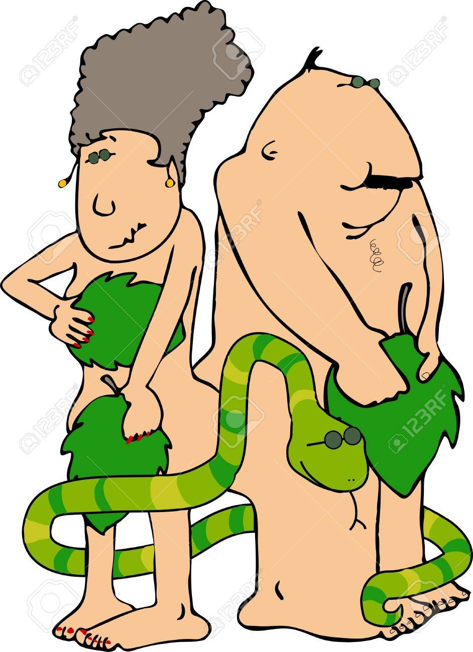 Adam & Eve with a snake Stock Photo - 401499
