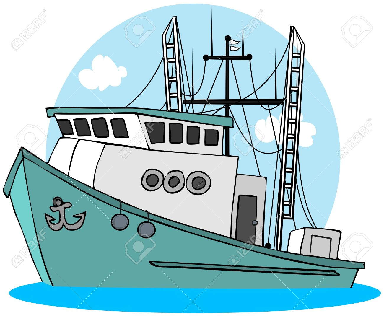 Fishing Boat Cartoon Fishing Trawler  boat  fishing