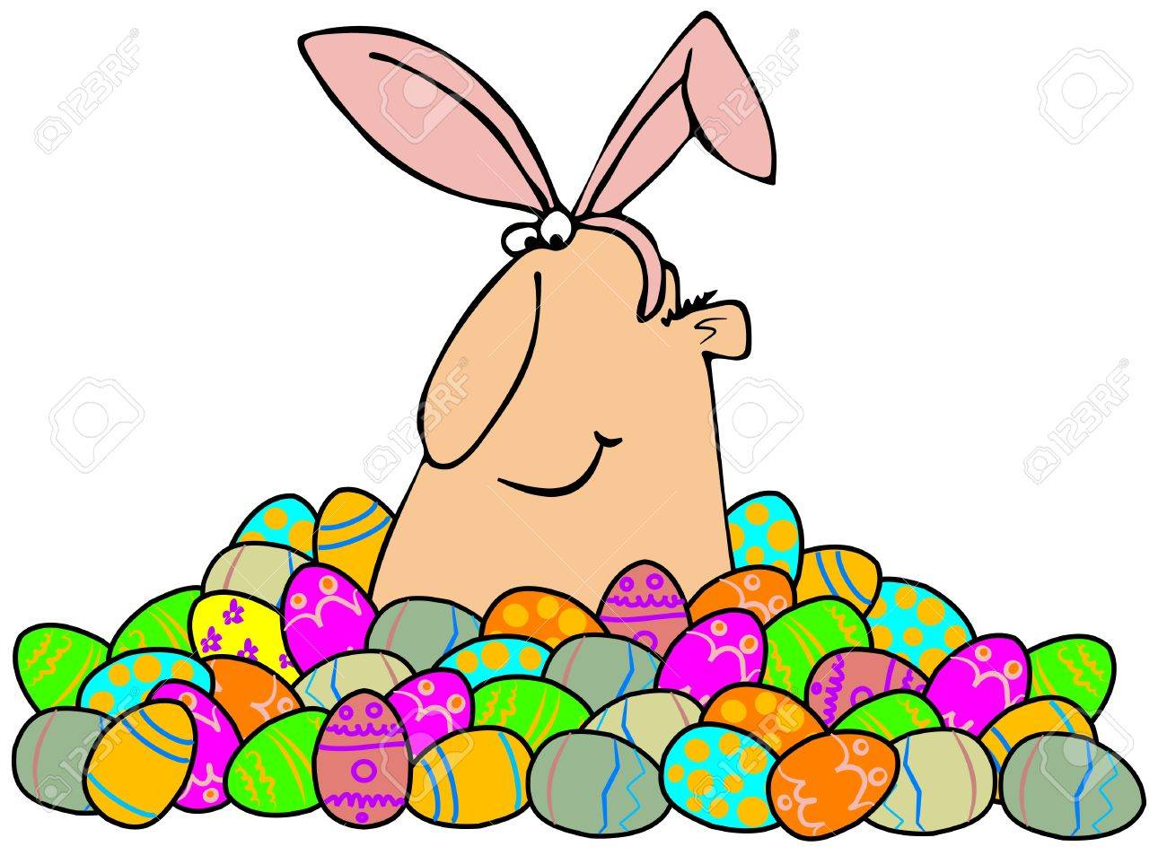 Easter Man In A Pile Of Eggs Stock Photo