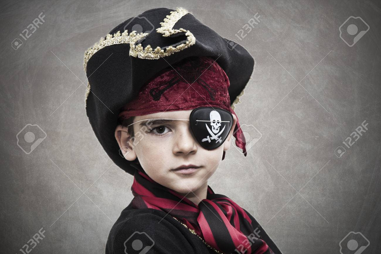 child pirate costume and background - 35165019