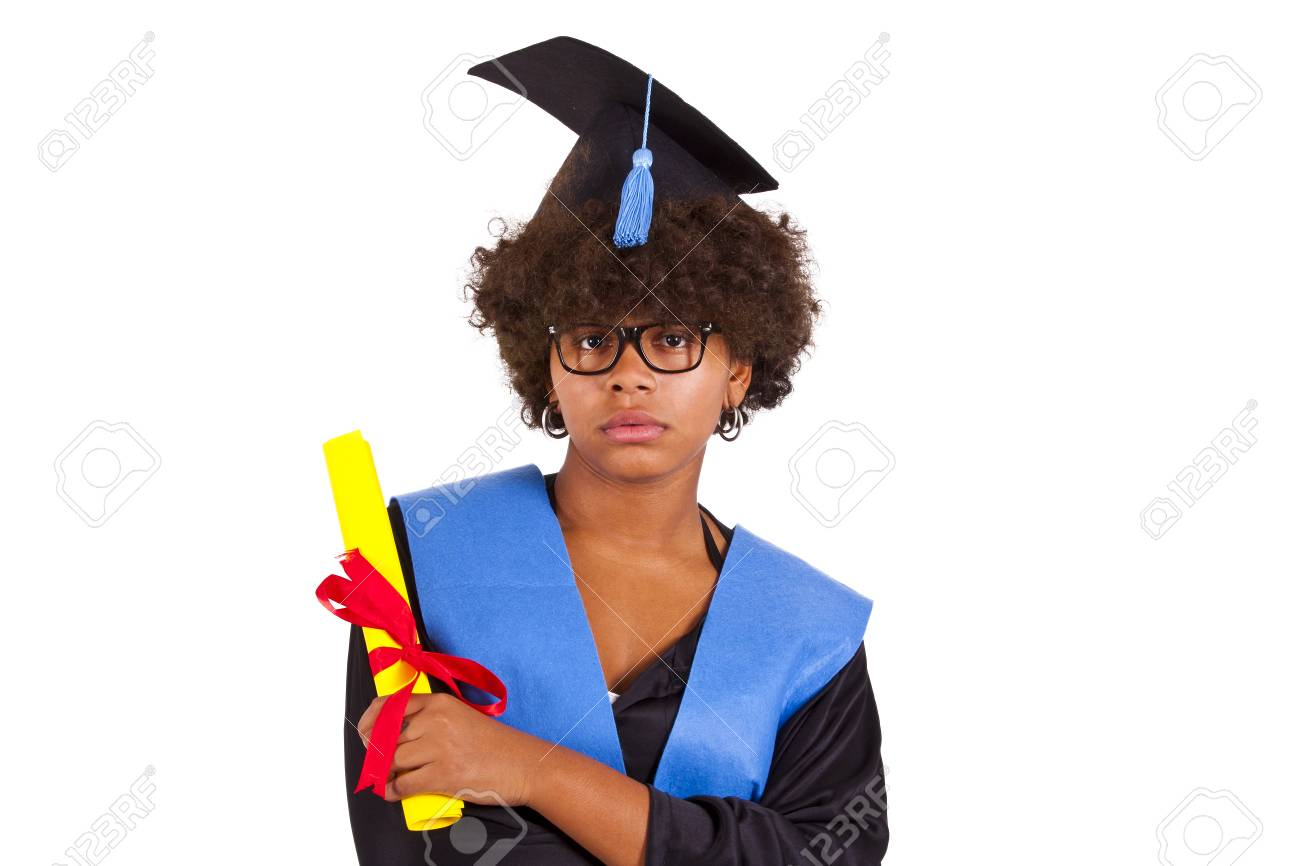 Girl With Graduation Gown Stock Photo, Picture And Royalty Free ...