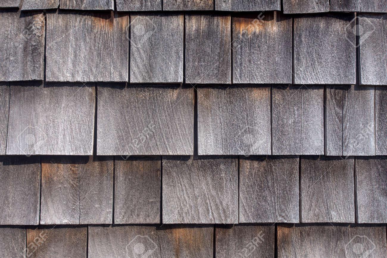 Rows Of Weathered Wood Shingles Barn Siding Stock Photo