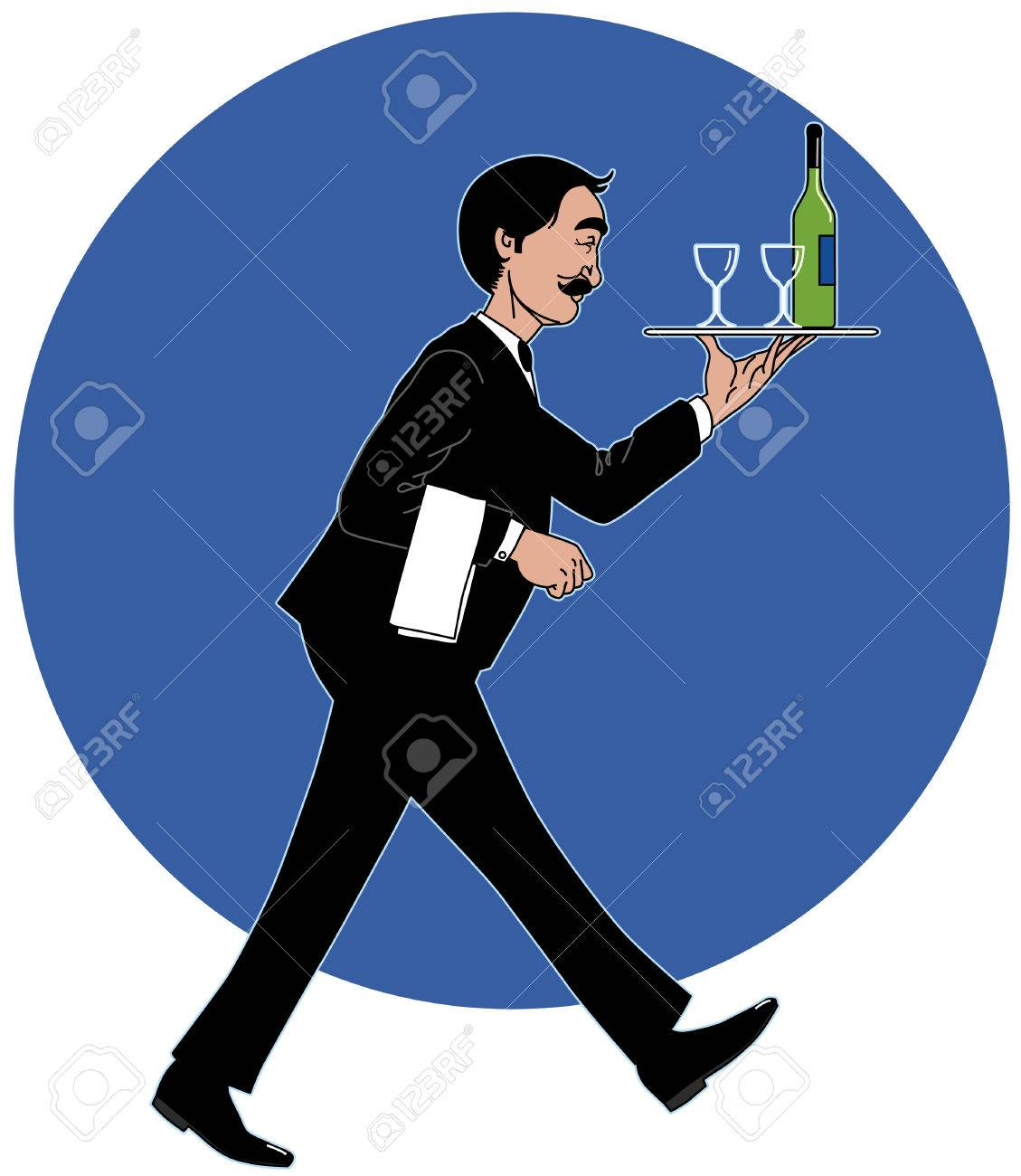 Waiter with the tray Stock Vector - 2607631