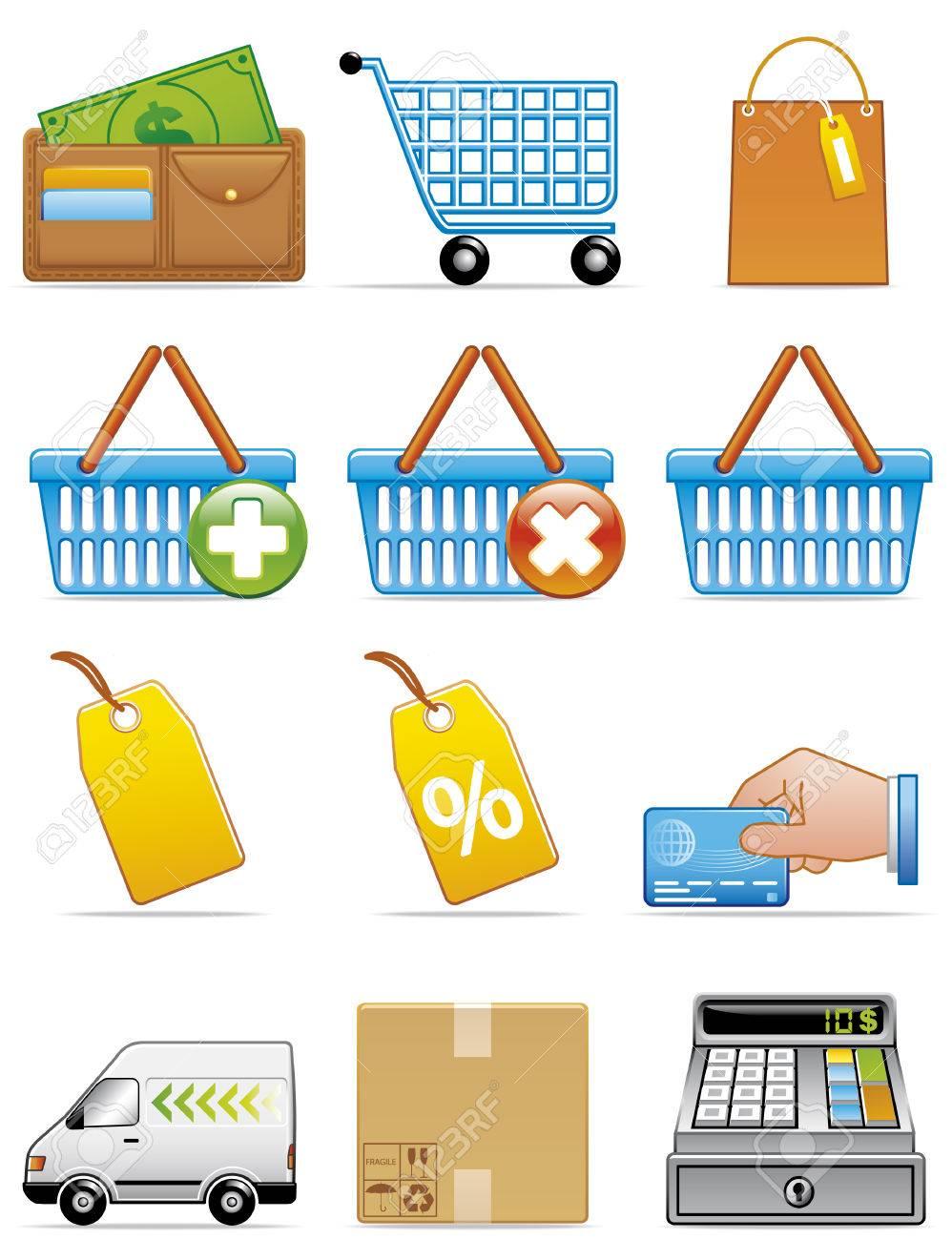 Shopping icons Stock Vector - 3982510