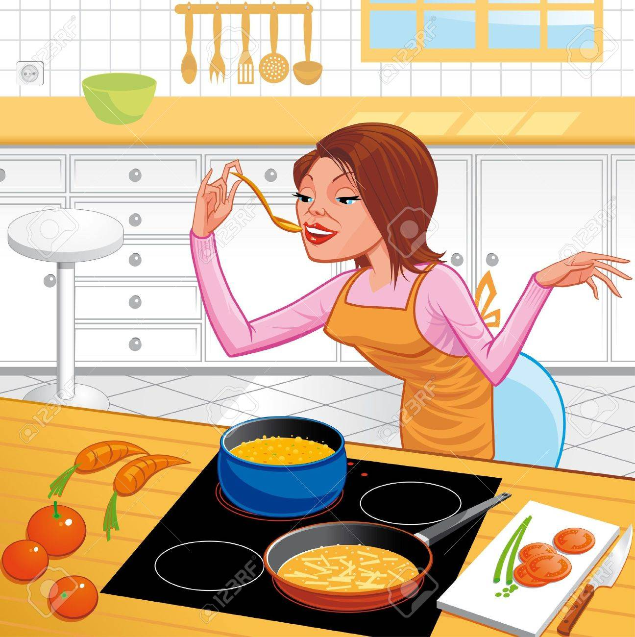 Selection of cartoons on cooking kitchens food and eating - Kitchen Cartoon Woman Cooking Stock Photo