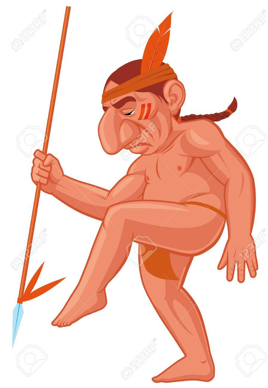 Cartoon American Indian Dancing War Dance Stock Photo Picture And