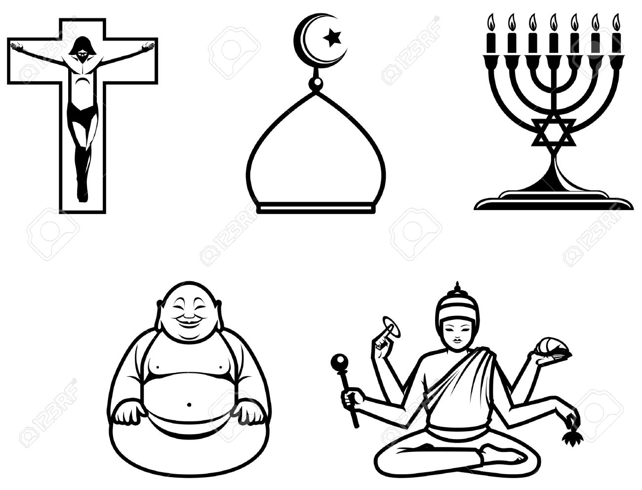 Religious Symbols Of Main World Religions Stock Photo Picture - 5 major world religions