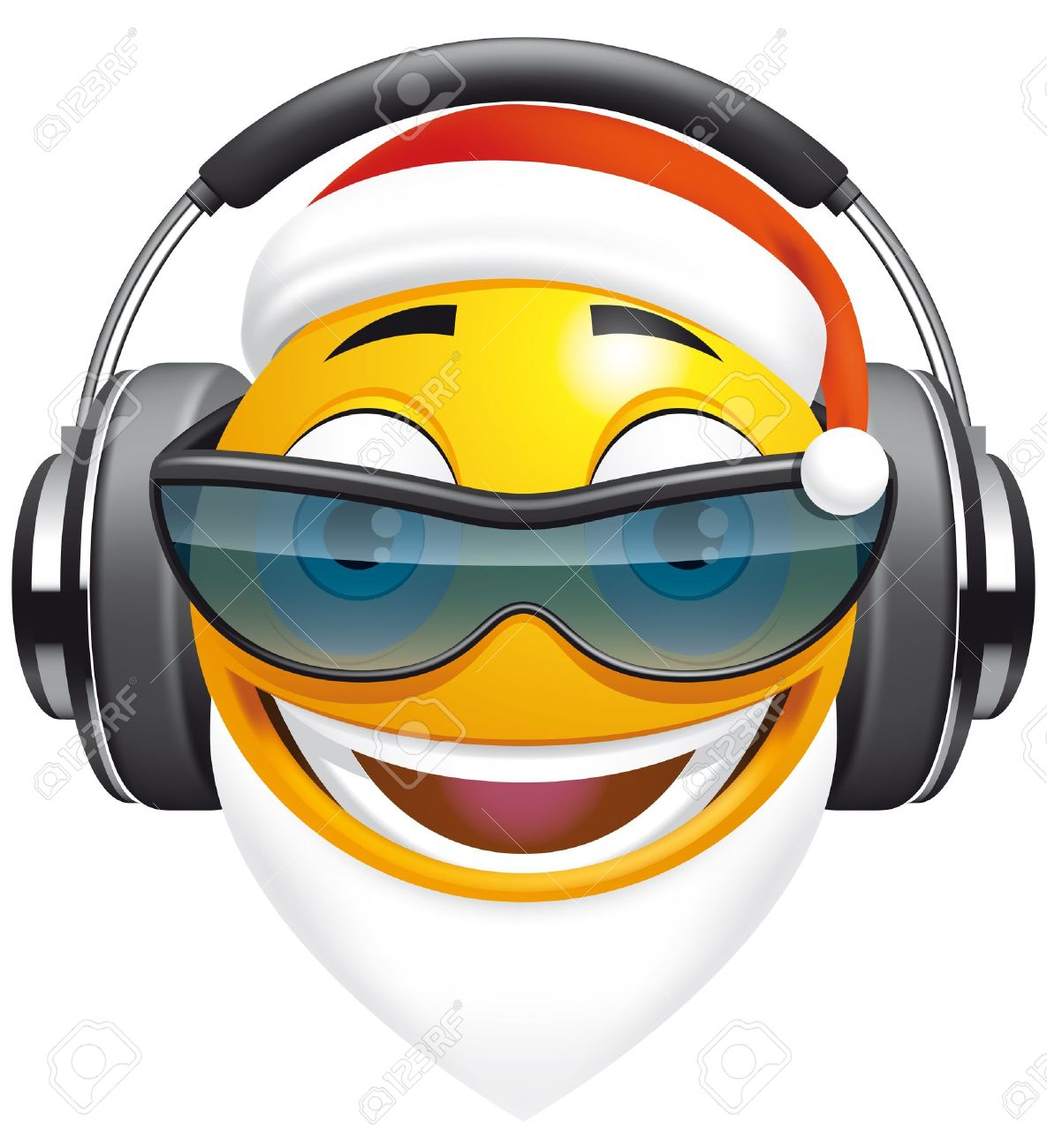 Emoticon Santa DJ Stock Photo - 15099630