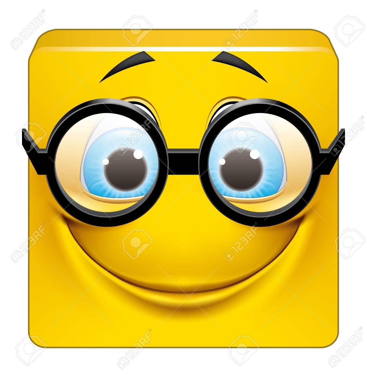 Les Petites Blagounettes bien Gentilles - Page 5 38353216-Illustration-sur-fond-blanc-d-motic-ne-carr-avec-de-grosses-lunettes-Banque-d'images
