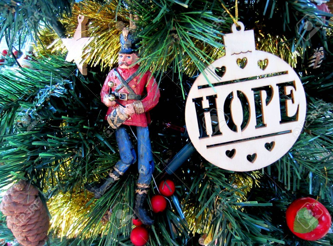 hope and toy soldier christmas tree decorations stock photo 24869474