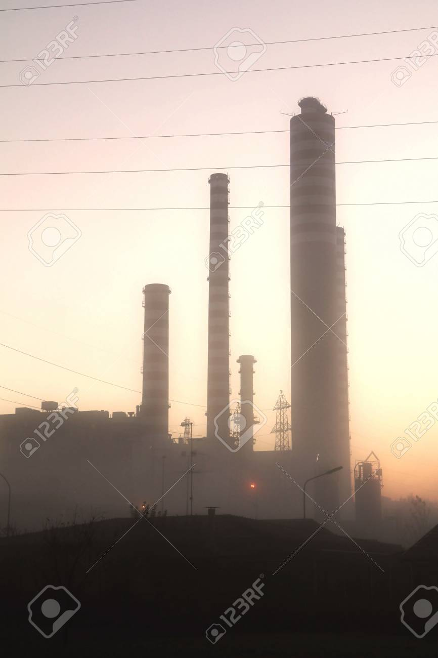 energy plant lighted in the sunset Stock Photo - 15726411